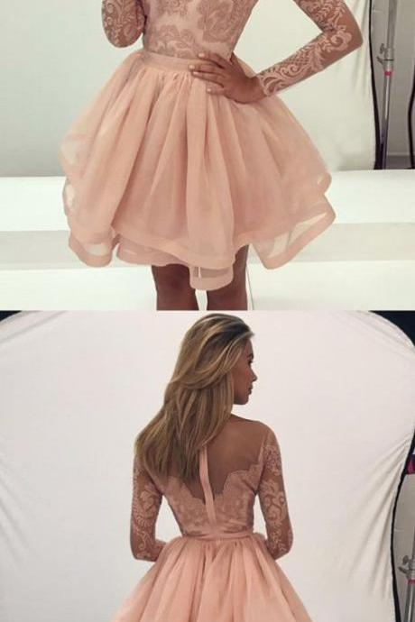 Cute A-Line Round Neck Long Sleeves Prom Dresses Pink Organza Short Homecoming Dress with Lace Mini Graduation Dresses Formal Dresses