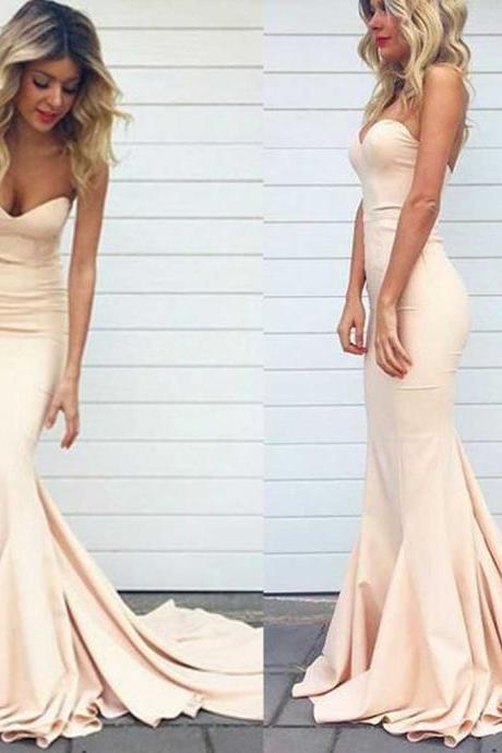 Sexy Mermaid Sweetheart Strapless Long Prom Dresses Formal Dresses Evening Gown Party Dresses