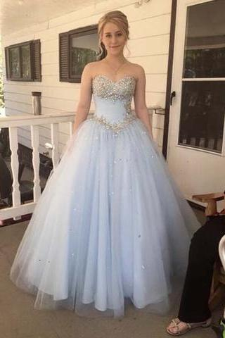 Charming Ball Gown Sweetheart Tulle Long Prom Dresses Beaded Sequined Formal Dresses Graduation Dress Evening Dress