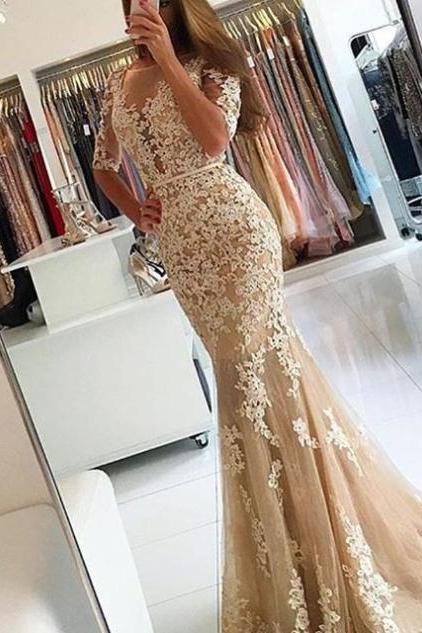Elegant Mermaid Lace Appliques Tulle Long Prom Dresses 1/2 Sleeves Backless Formal Dresses Gradutaion Dresses