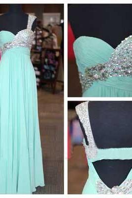 Charming A-line One Shoulder Long Chiffon Prom Dresses Sweetheart Beaded Formal Dresses Graduation Dresses Evening Gown