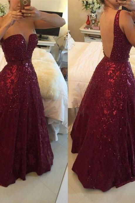 Charming Plus Size A-line Beaded Long Prom Dresses Floor Length Formal Dresses Evening Party Gown