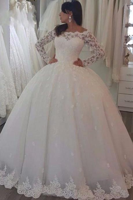 Elegant Ivory Long Sleeves Tulle Wedding Dresses Lace Appliques Long Bridal Dresses Ball Gown
