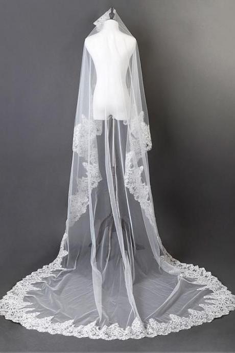 Charming Ivory Tulle Cathedral Wedding Veil With Sequin Lace Applique Edge Bridal Veil