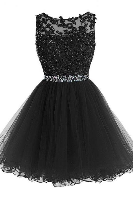 Sweety Short Lace Appliques with Crystal Beads Rhinestones Prom Dresses Puffy Tulle Party Dresses Little Black Graduation Homecoming Gowns