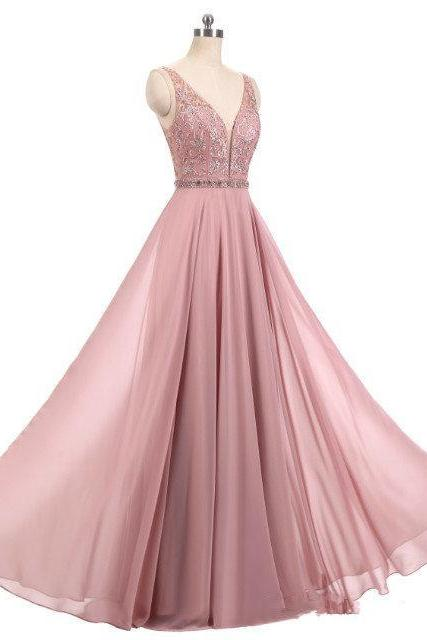 2018 Real Blush Pink Dresses V Neck Sleeveless Beads A Line Long Chiffon Formal Prom Dresses Evening Party Gown Mother Dresses