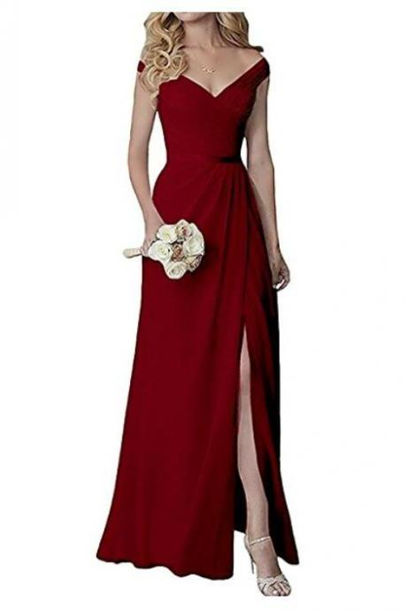 Free Shipping Burgundy Off-The-Shoulder V-Neck A-line Floor-Length Bridesmaid Dress with Side Slit