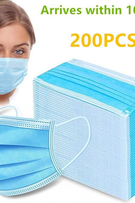 3 Ply Disposable Masks with Elastic Ear Loops - Soft Comfortable Filter Safety Mask for Dust Protection - Protective Masks