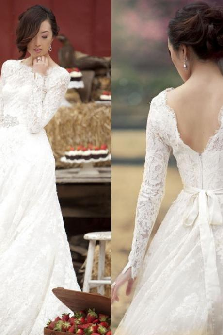 New Designer Elegant Long Sleeves Lace Wedding Dresses 2015 Applique Zipper Scoop A Line Vestido De Noiva Plus Size Hot Sale Bride Gowns