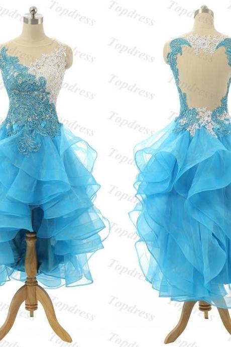 Sexy High Low Lace Evening Dresses Formal Prom Gowns with Ruffles Keyhole Back and Sheer Scoop New Arrival Blue Cocktail Party Gowns Dress