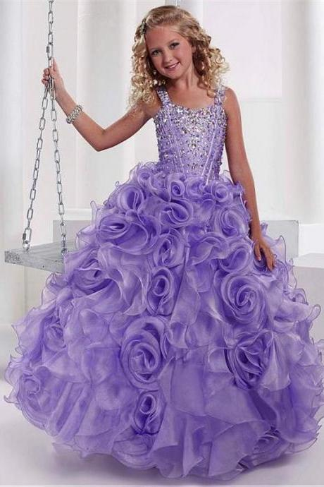 Lovely Purple Ball Gown Proncess Girl Dresses Spaghetti Straps Beaded Ruffles Floor Length Pageant Dresses Birthday Party Prom Gowns