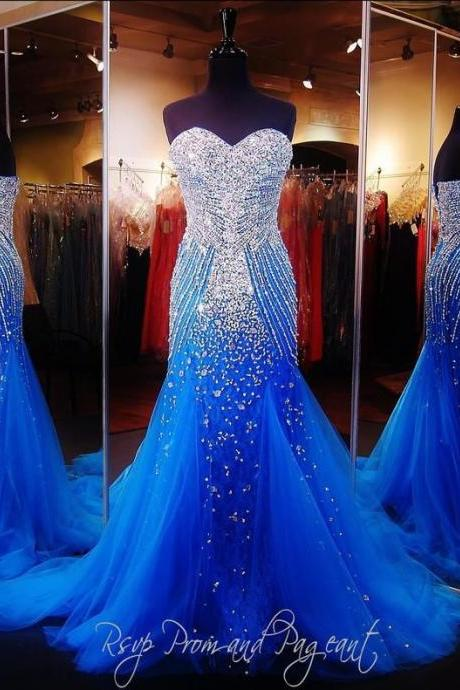 2016 Luxury Blue Mermaid Prom Pageant Dress with Sweetheart Sleeveless Sweep Train Sparkling Crystal Beading Tulle Formal Christmas Evening Dress