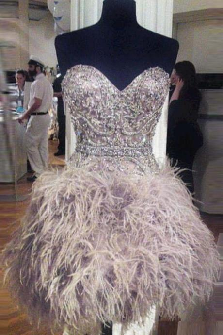 Custom Made Feather-Embellished Sweetheart Evening Dress, Homecoming Dresses, Cocktail Dress, Graduation Dress with Rhinestones