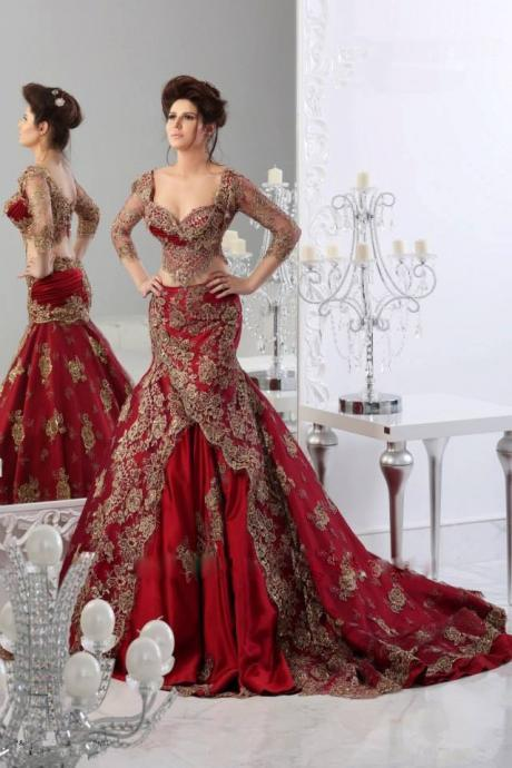 Kaftan Dubai Arabic Wine Red Wedding Dresses Sweetheart Three Quarter Sleeves Two Pieces Mermaid Bridal Gowns with Gold Applique