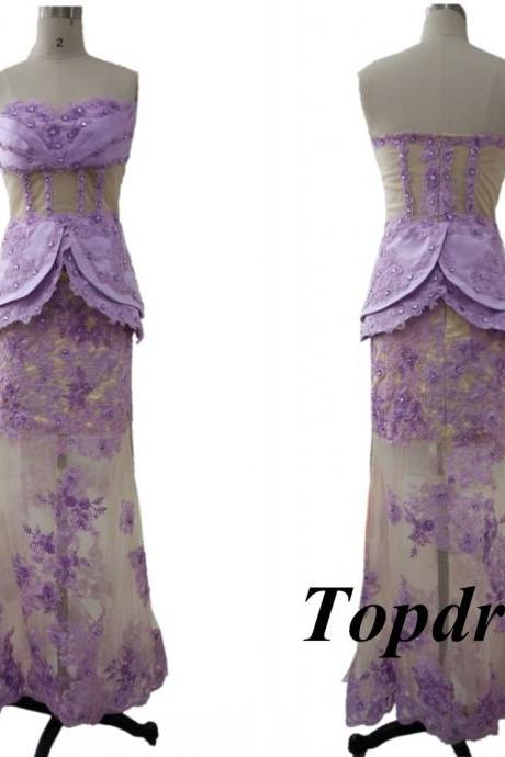 Sexy See Through lavender Prom Dresses Mermaid Sweetheart Lace Appliques Crystals Floor Length Special Occasion Dress Pageant Gown
