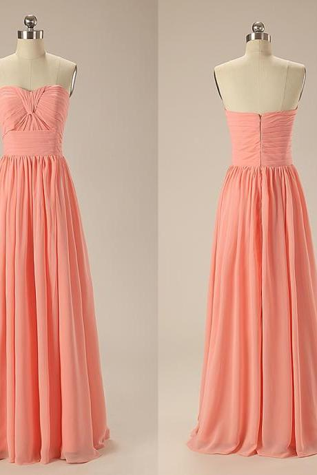 Long Chiffon Peach Prom Dresses A Line Sweetheart Pleat Bridesmaid Dresses custom made Wedding Party Gowns