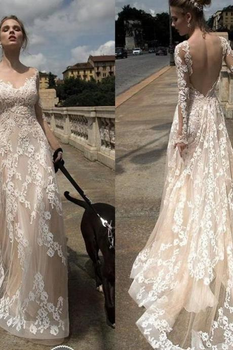 Top Selling 2016 New Wedding Dresses A Line V Neck Long Sleeve Sexy Backless Bridal Dress Beaded Lace Appliques Long Champagne Wedding Gowns