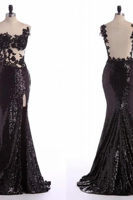 Sexy Black Lace Evening Dress 2016 Women Mermaid Sequin Gown Side Slit Prom Party Dress Formal Dresses