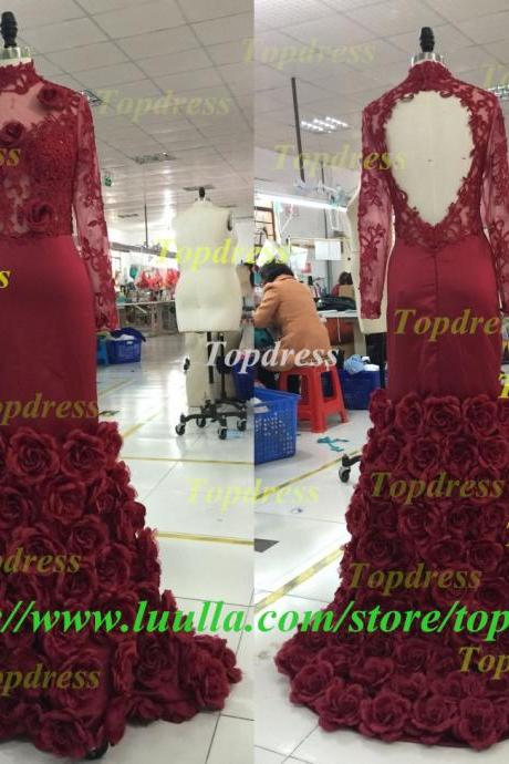 2016 Romantic Wine Red Evening Dress Mermaid With Rose Floral Ruffles Sheer Prom Gown With Applique Long Sleeve Prom Dresses
