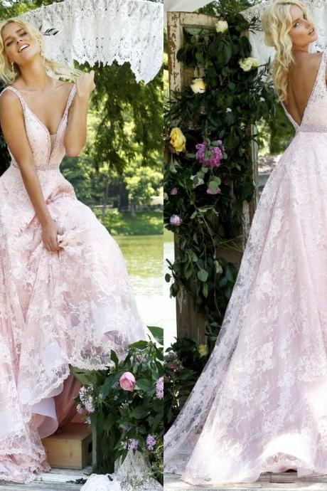 Hot sale Fashion Pink Lace Wedding Dresses A Line V Neck Backless Beads Sweep Train Bridal Gowns Sexy Wedding Party Gowns