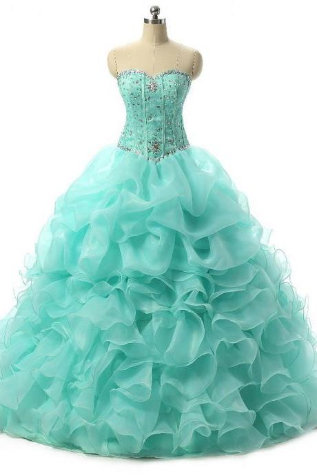 Hot sale Quinceanera Dresses 2016 Organza Ball Gown Sweetheart Crystal sweet 16 dress sweet 15 gowns vestidos de 15 Girls Birthday Party Dress