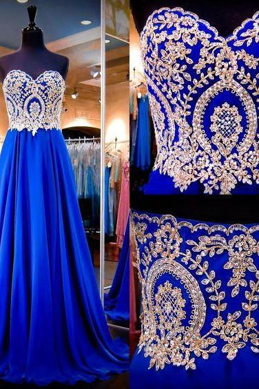 Prom Dresses Online Shopping 2016 Royal Blue Prom Dresses Real Images Sweetheart Neck Appliqued Beaded Chiffon A Line Long Prom Gowns With Sweep Train Prom Dress