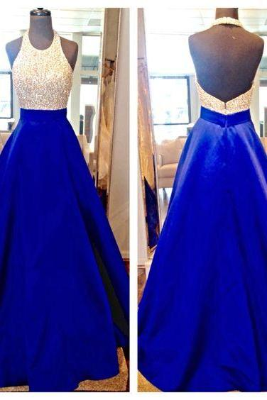 Royal Blue Halter Backless A Line Floor Length Satin Evening Party Dresses Backless Sequins Satin Prom Dresses Formal Gowns