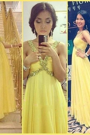 Elegant Yellow V Neck Cheap Long Prom Dresses 2016 Evening Dress Simple Chiffon Graduation Dresses Backless Prom Gowns