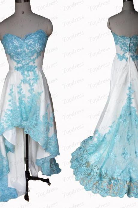 White And Turquoise High Low Beautiful Lace Appliques Prom Dresses Short Front Long Back Sexy Sweetheart Graduation Party Dress