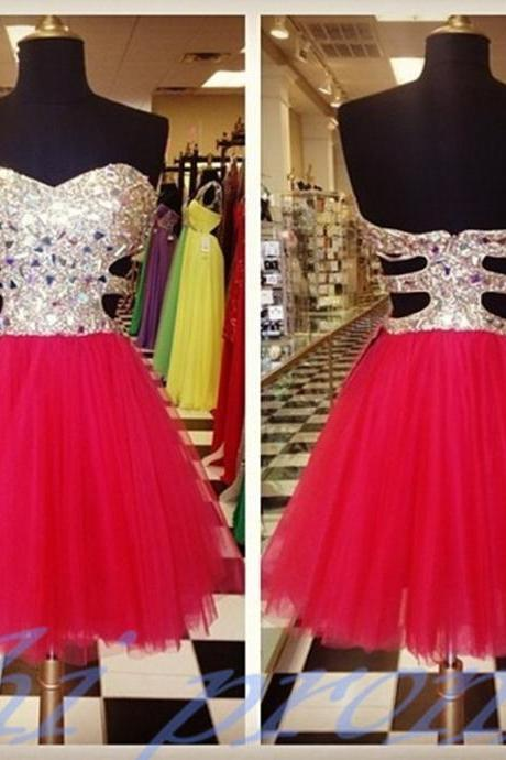 Romantic Red Homecoming Dresses Beaded Rhinestones Peach Tulle A line Short Party Dress Custom Made Graduation Dresses