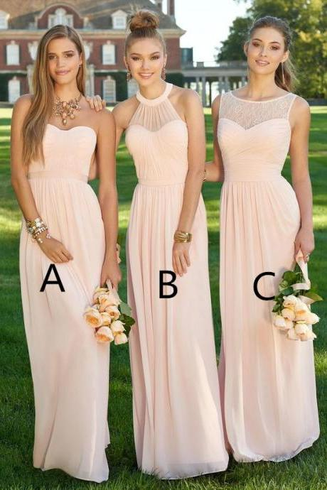 Elegant Nude Long Chiffon Bridesmaid Dresses A Line Pleat 3 Styles Party Dress for Wedding Custom Maid Of Honor Dress