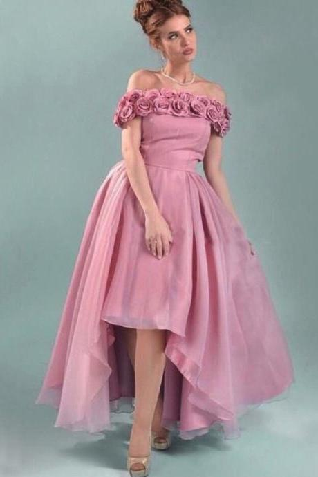2016 New Elegant Pink Ankle Length Prom Dresses A Line off the shoulder Organza Graduation Party Dress with 3D Flowers