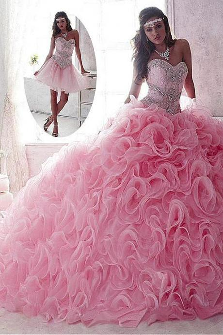 Lace Organza Sweetheart Neckline Ball Gown Quinceanera Dresses With Sequins Beadings Rhinestones Floor Length Detachable PromGowns