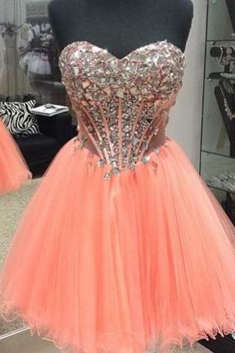 Peach Prom Gowns,Short Sweetheart Sexy Prom Dresses,Crystals Homecoming Dresses,Tulle Prom Party Dresses,2016 Homecoming Dresses