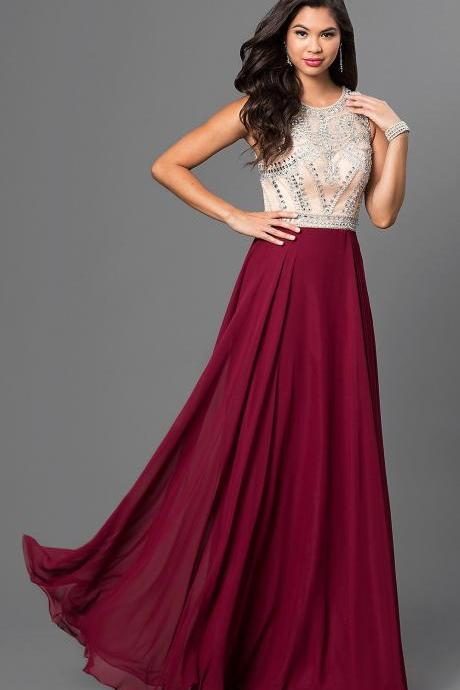 Burgundy Long Chiffon Prom Dresses A Line Jewel Beaded Crystals Formal Party Dresses Custom Made Evening Gowns