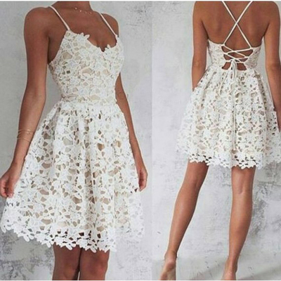 A-Line Spaghetti Straps Homecoming Dress,White Lace Sleeveless Party Dress