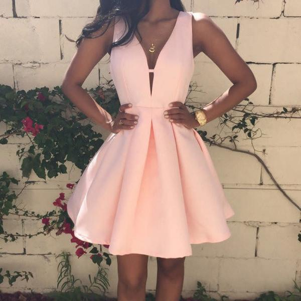 A-Line V-Neck Sleeveless Pink Short Homecoming Dress Party Dress