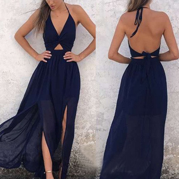 A-Line Halter Prom Dress Sexy Backless Party Dress Navy-Blue Chiffon Homecoming Dress