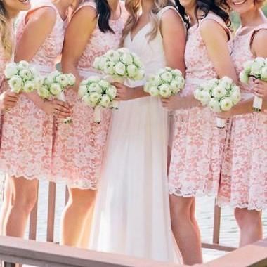 Sexy A-Line Crew Above-Knee Pink Lace Bridesmaid Dress with Belt