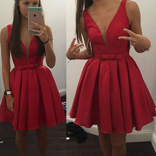 Charming Satin A-line Prom Dress Red Short V-neck Homecoming Dress