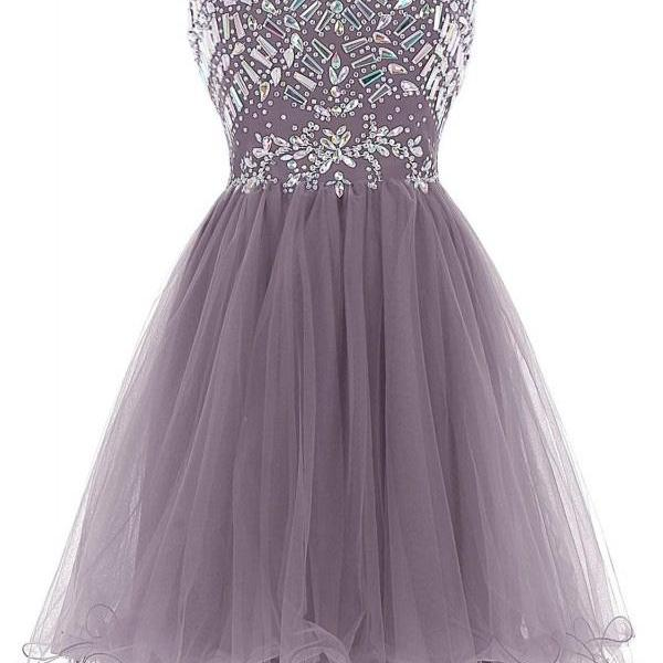 Beading Tulle Short Homecoming Dress Sweetheart Party Dress