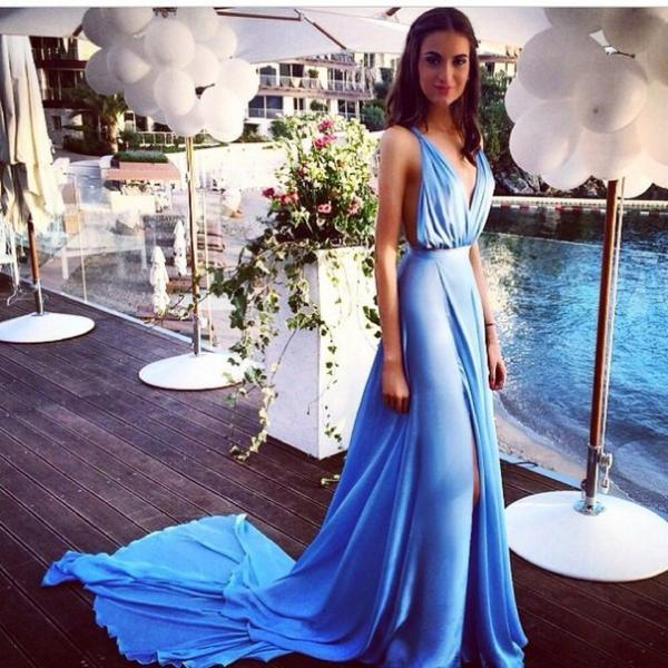 Blue Chiffon 2016 Sexy Summer Evening Dresses with Long Train Deep V Neck Side Slit Open Back Popular Prom Dresses Party Gown
