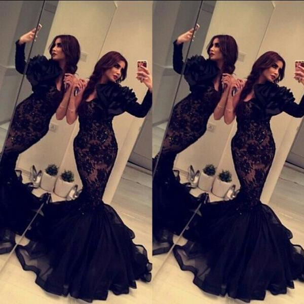 6710f6b29fd 2016 Black Lace Dress Mermaid Long Sleeve Prom Dresses with Hand-Made  Flower Beaded Long ...