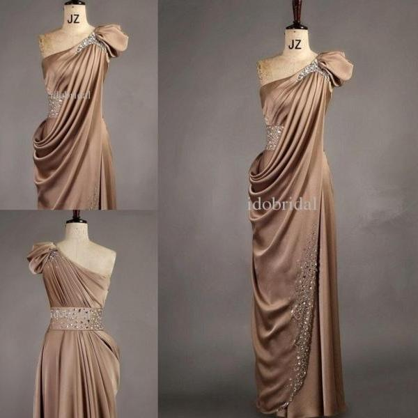 Custom Made 2015 New Arrival Satin One Shoulder Handmade Beads Floor-length Evening Dress Evening Gown Women Formal Party Dresses