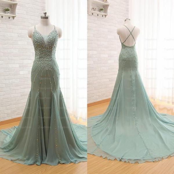 Charming New Long Chiffon Prom Dresses 2015 Custom made Mermaid Sweetheart Spaghetti Crystals Evening Dresses Prom Gowns
