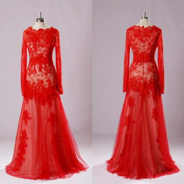 Custom Made Elegant Red Long Sleeve Evening Dresses 2015 New Long Tulle Formal Party Dresses Women Dresses