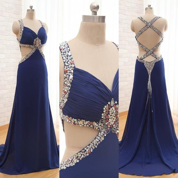 Navy Blue Sexy Prom Dresses,long Chiffon Prom Dresses,Backless Prom Dresses,Spaghetti Prom Dresses ,2015 Prom Dresses