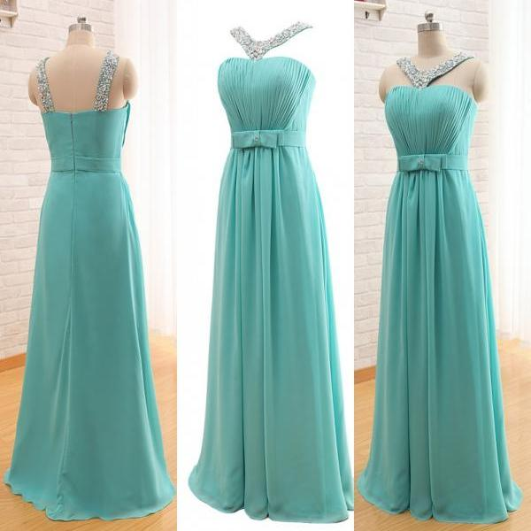 Elegant Long Chiffon Prom Dresses,2015 Prom Dresses,Halter Bridesmiad Dresses,Backless Party Dresses,Bow Prom Dresses