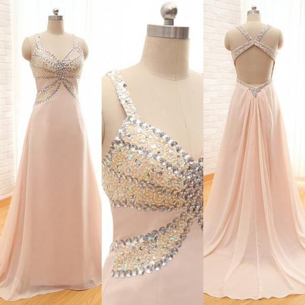 2016 Custom Made Fashion Long Chiffon Prom Dresses ,A-line Sweetheart Spaghetti Backless Evening Dresses With Sequined Beaded
