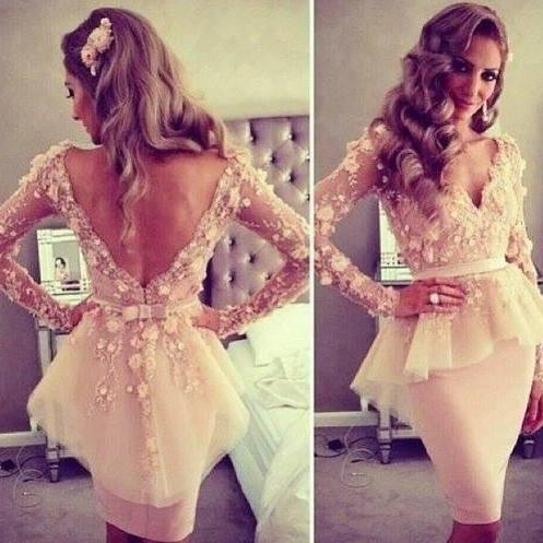 Handmade Sexy Flower Applique Tulle Long Sleeve Short Party Dresses, Sexy Party Dresses, Formal Dresses 2015